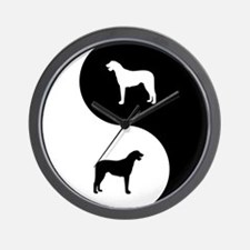 Yin Yang Wolfhound Wall Clock