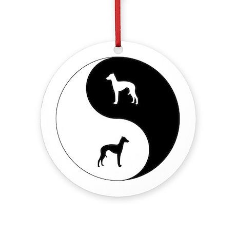 Yin Yang Italian Greyhound Ornament (Round)