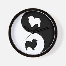 Yin Yang Keeshond Wall Clock