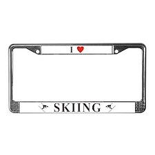 I Love Skiing License Plate Frame