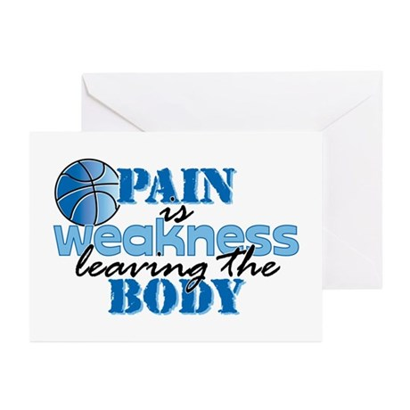 Pain is weakness bball Greeting Cards (Pk of 20)