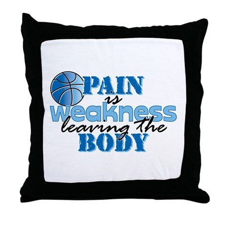 Pain is weakness bball Throw Pillow