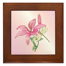 Lily Dragonfly Framed Tile