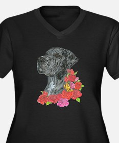 NMrlc Roses Women's Plus Size V-Neck Dark T-Shirt