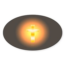 """""""Easter Cross"""" Oval Decal"""