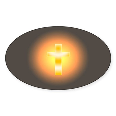 """Easter Cross"" Oval Sticker"
