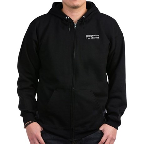 GLUTEN-FREE IT'S A NECESSITY Zip Hoodie (dark)