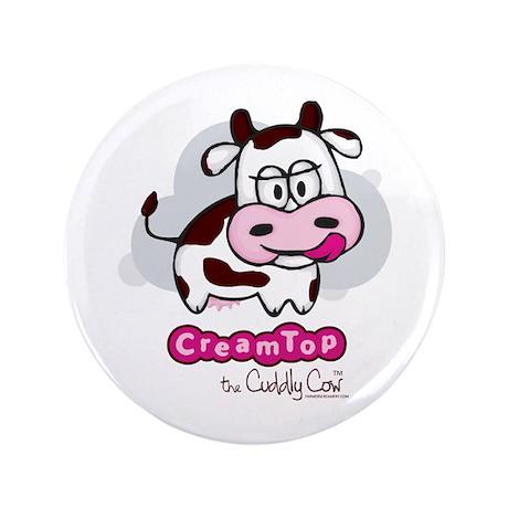 "CreamTop the Cuddly Cow 3.5"" Button"
