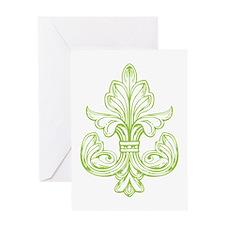 Green Line Fleur de lis Greeting Card