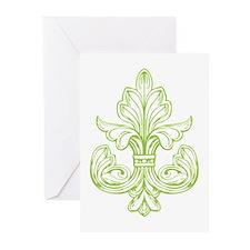 Green Line Fleur de lis Greeting Cards (Pk of 10)