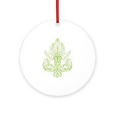 Green Line Fleur de lis Ornament (Round)