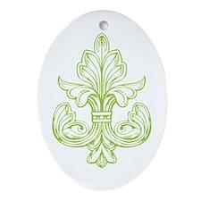 Green Line Fleur de lis Oval Ornament