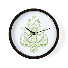 Green Line Fleur de lis Wall Clock