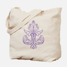 Purple Line Fleur de lis Tote Bag