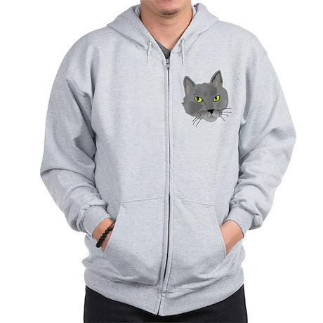 Gray Cat Zip Hoodie