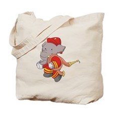 Firefighter With Hose Tote Bag