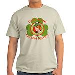 Red Hair Green Heart Irish Girl Light T-Shirt