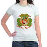 Red Hair Green Heart Irish Girl Jr. Ringer T-Shirt