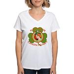 Red Hair Green Heart Irish Girl Women's V-Neck T-S