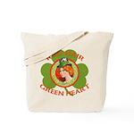 Red Hair Green Heart Irish Girl Tote Bag