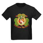 Red Hair Green Heart Irish Girl Kids Dark T-Shirt
