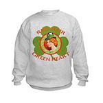 Red Hair Green Heart Irish Girl Kids Sweatshirt