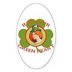 Red Hair Green Heart Irish Girl Sticker (Oval 10 p