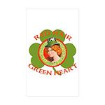 Red Hair Green Heart Irish Girl Sticker (Rectangle