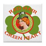 Red Hair Green Heart Irish Girl Tile Coaster