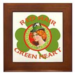 Red Hair Green Heart Irish Girl Framed Tile