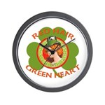 Red Hair Green Heart Irish Girl Wall Clock