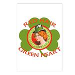 Red Hair Green Heart Irish Girl Postcards (Package