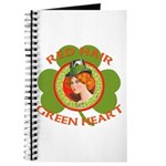 Red Hair Green Heart Irish Girl Journal