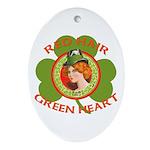 Red Hair Green Heart Irish Girl Ornament (Oval)