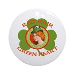 Red Hair Green Heart Irish Girl Ornament (Round)