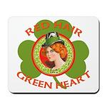 Red Hair Green Heart Irish Girl Mousepad