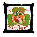 Red Hair Green Heart Irish Girl Throw Pillow
