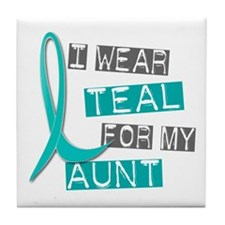 I Wear Teal For My Aunt 37 Tile Coaster