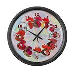 Twelve Roosters Large Wall Clock