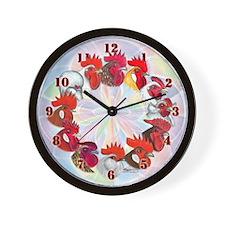 Twelve Roosters Wall Clock