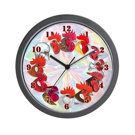 Twelve Roosters Wall Clock