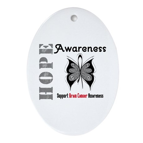 BrainCancer HopeButterfly Oval Ornament