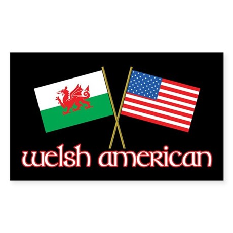 Welsh American Rectangle Sticker