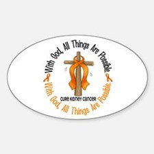With God Cross Kidney Cancer Oval Decal
