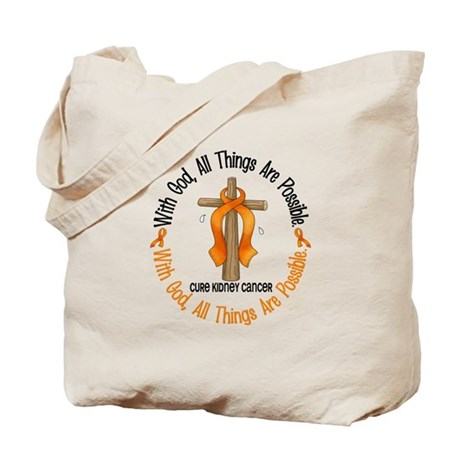 With God Cross Kidney Cancer Tote Bag