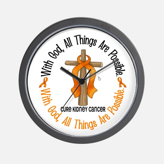 With God Cross Kidney Cancer Wall Clock