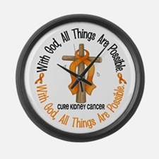 With God Cross Kidney Cancer Large Wall Clock