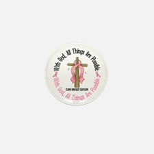 With God Cross Breast Cancer Mini Button (10 pack)