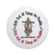 With God Cross Juvenile Diabetes Ornament (Round)