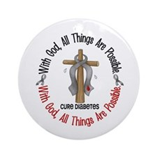 With God Cross Diabetes Ornament (Round)